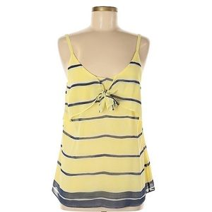 NWT CAbi yellow stripe knot cami #5207
